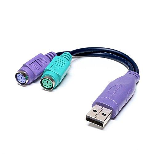 Top-Longer USB-Stecker auf PS/2-Buchse, Konverterkabel, Aktiv-Adapter, Splitterkabel fü PS2-Tastatur und -Maus, schwarz
