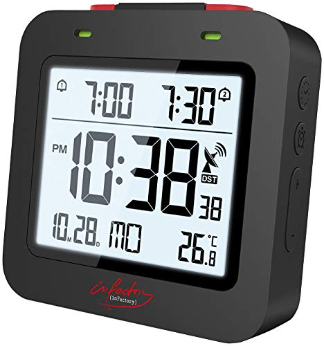 infactory Funkreisewecker: Digitaler Reise-Funkwecker mit Thermometer, Datum, Dual-Alarm, schwarz (Wecker 2 Weckzeiten)