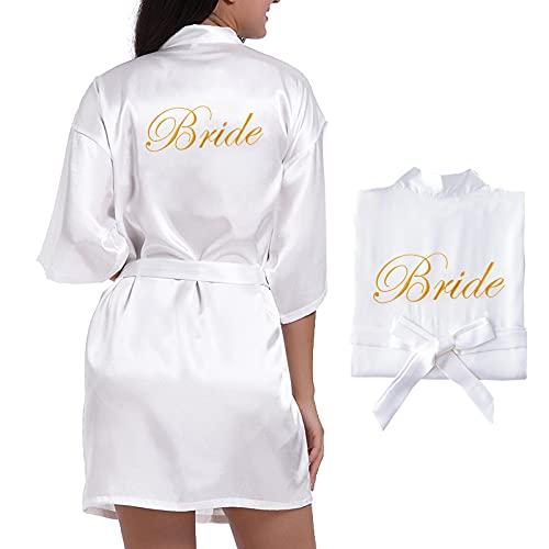 UFLF Bata Novia Boda Pijama Mujer Albornoces Satén para Boda Vestido Ropa de Dormir Ducha con Palabra Bordada
