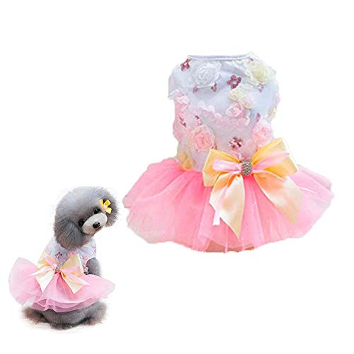 Clopon Pet Dog Dress Cute Girl Dogs Lace Skirt Puppy Princess Jumpsuit Party Floral Dresses Ribbon Bow Doggie Costumes