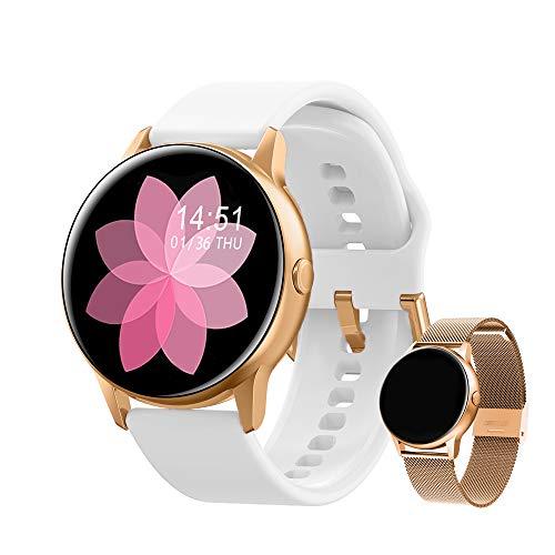 Smartwatch Damen Fitness Armband Uhr | GRATIS Metallband | Sport Bluetooth Kalorien Tracker Pulsuhr Schrittzähler Blutdruckmessung | Voll Touch Screen IP67 Wasserdicht IOS/Android