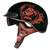 EDW Medio Casco de Moto Vintage (Negro) Motocicleta Cara Abi