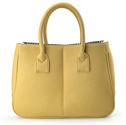 Hoxis Classical Office Lady Minimalist Pebbled Faux Leather Handbag Tote/Magnetic Snap Purse (Mustard)