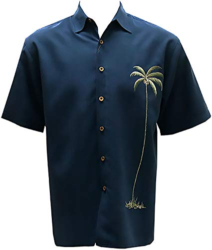 Bamboo Cay Men's Single Palm Embroidered Casual Hawaiian Button Down Shirt (Large, Navy)