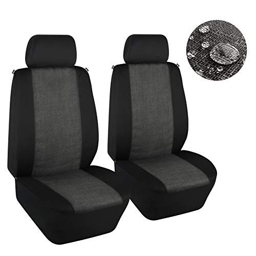 Elantrip Waterproof Linen Cloth Front Seat Covers Universal Fit Water Resistant Breathable Bucket Seat Cover Protection Airbag Compatible for Cars SUV Truck, Black and Gray 2 PC
