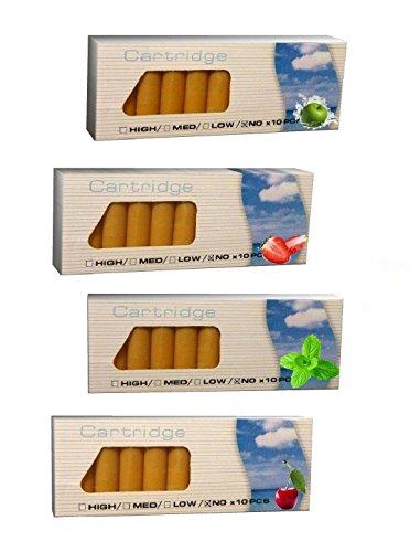 KIRSCHE + ERDBEERE + MINT + APFEL : 4er Pack Aromakapseln, E-Zigarette Depots, 0.mg, z.b. für Clever Smoke, e-health, uvm.