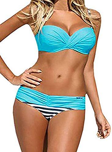 Actloe Women Color Block Bikini Swimsuit Two Pieces Striped Swimwear Push up Bathing Suit Blue Medium