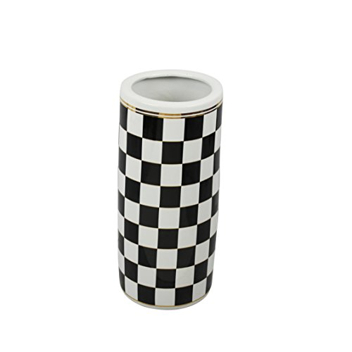 Sagebrook Home Ceramic Umbrella Stand, Black/White/Gold, 7.75x7.75x18,
