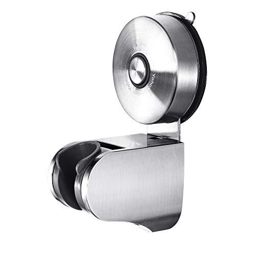 YOHOM Duschkopfhalterung Vakuum Saugnapf Handbrause Halterung 22mm, Bad Brausehalter verstellbar mit 4 Modus Winkel, Saughalterung Duschkopfhalter wand Ohne Bohren für Badezimmer, Edelstahl Gebürstet