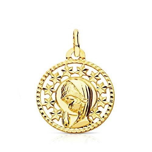 OROCORDOBA Medalla Bebé/Niña Oro Amarillo 18 ktes Tamaño 16 mm Comunión Virgen Niña
