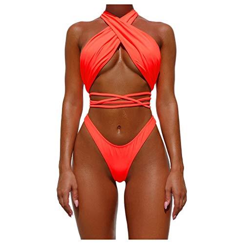 FRAUIT Costume da Bagno Donna Brasiliana Intero Costumi da Bagno Contenitivo Ragazza Bikini Imbottito Mare o Piscina Trikini Tankini Spiaggia Beachwear Swimwear