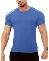 Men's Active Quick Dry Crew Neck T Shirts | Athletic Running Gym Workout Short Sleeve Tee Tops Bulk Blue
