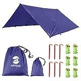 Toldo Impermeable Lona para Tienda de Campaña Ligero Anti-Viento Anti-UV Toldo de Refugio Camping con 6 Estacas + 6 Cuerdas 305cm*367cm Azul