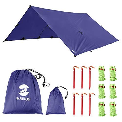 Toldo Impermeable Lona para Tienda de Campaña Ligero Anti-Viento Anti-UV Toldo de Refugio Camping con 6 Estacas + 6 Cuerdas 305cm*305cm Azul
