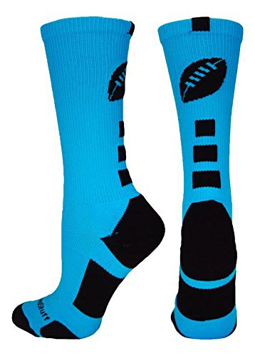 MadSportsStuff Football Logo Crew Socks (Electric Blue/Black, Small)