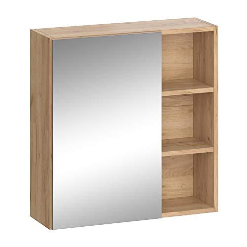 Vicco Badmöbel Set SENYO Anthrazit Goldkraft Spiegel Waschtisch Unterschrank Badschrank (Spiegelschrank)
