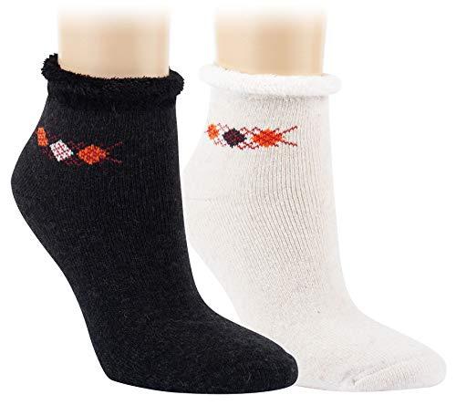 Vitasox 12804 Damen Socken Angora Wolle Kuschelsocken mit Innenfrottee & Rollrand Anthrazit Wollweiß 2 Paar 39/42