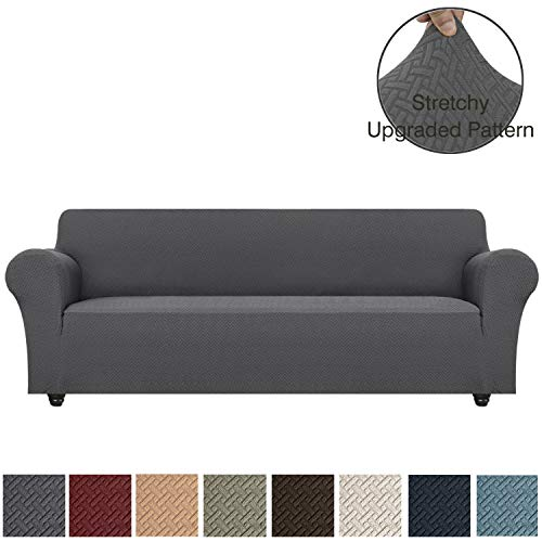 OBYTEX Stretch Sofa Cover 4 Seat Spandex Upgrade Pattern Couch Covers Dog Cat Pet Slipcovers Furniture Protectors,Machine Washable (X-Large, Grey)