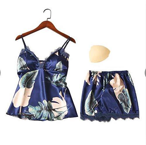 JFCDB Zomer pyjama,Sexy Lingerie Satijnen Pyjama Dames Nachtkleding Zomer Pyjama Dames Pyjama Femme Bloem Pyjama Voor Dames Set Sexy Nachtkleding, C, M