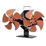 HIUHIU Nuevo Ventilador de Estufa de Mini Blast, Ventilador de 8 Cuchillas, protección Ambiental, Ahorro de energía, Ventilador silencioso, disipación de Calor eficiente del hogar,Latón