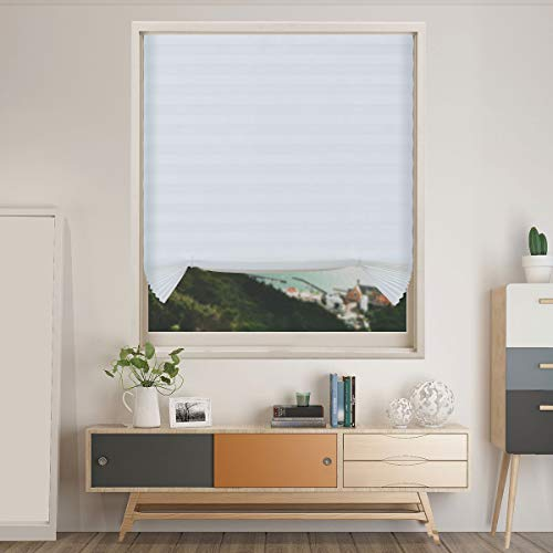 Acholo Cordless Pleated Window Shades for Light Blocking, Easy Installing,White,48'x 72'