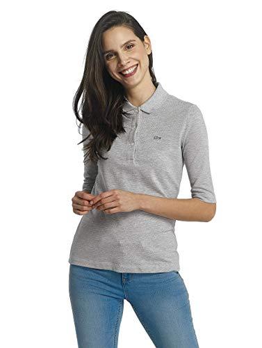 Lacoste PF5381 Klassisches Damen Polo, Polohemd, Polo-Shirt mit 3/4 Arm, Kurzarm, Regular Fit, für Freizeit und Sport, 100% Baumwolle Grau (Silver Chine CCA), EU 48