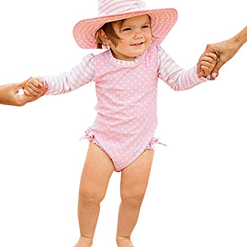 Bañador Protección Solar Traje de baño para Bebé Niñas, Bebes Niñas Infantil bañador de Natación Piscina Traje de baño Rayas Lunares de una Pieza