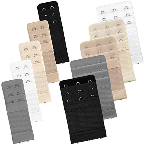 Bigqin correa de extensión de sujetador, correa de gancho de extensión flexible con 2 ganchos 3 ganchos, negro blanco beige gris plateado color carne, 10 piezas