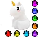 Kids Night Light Cute Unicorn LED Luz de silicona Lámpara de estado de ánimo con control...