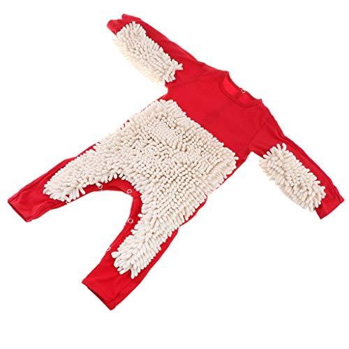 F Fityle Neugeborene Baby Overall Wischmopp Strampler Mädchen Jungen Spielanzug aus Baumwolle Babybekleidung - Rot + Beige, 85 cm
