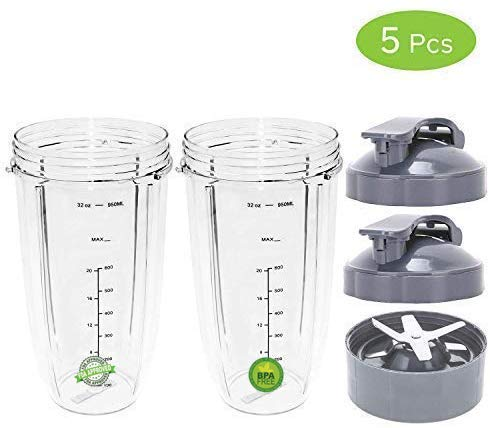 Replacement NutriBullet 32 Oz Cup with Flip Top to Go Lid for Nutri Bullet 600W 900W (2 Pack) by Pro Blade
