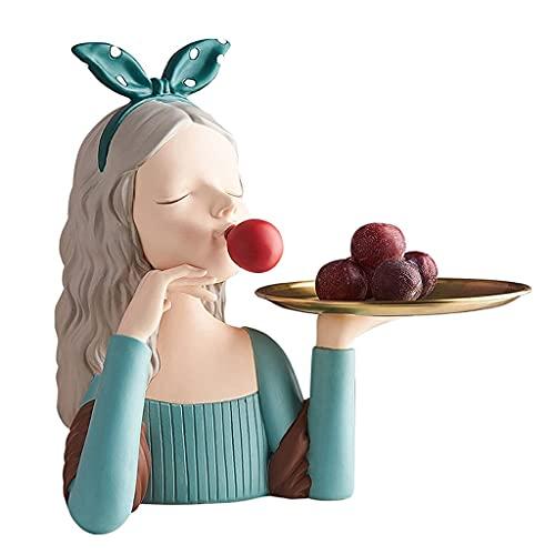 BERTY·PUYI Vassoio Portaoggetti Chiave Soggiorno Vassoio per Frutta Desktop Ragazza Scultura Ingresso Valet Vassoio Vassoio Decorativo per La Casa-Green