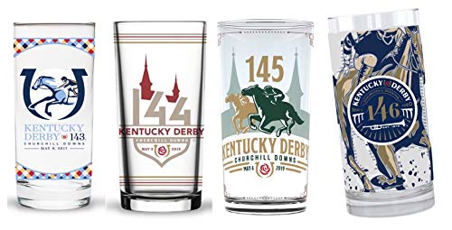Kentucky Derby Officially Licensed Mint Julep Cup/Glass Set, 4 Pack, Year 2020, 2019, 2018 & 2017