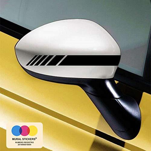 mural stickers Car Stripes - Adesivi per Specchietti Macchina - Strisce Design - Tuning - Confezione da 2 unità Ideale per Tutte Le Auto - Sinistro E Destro Striscia Striscia Nero 20cm x 2cm
