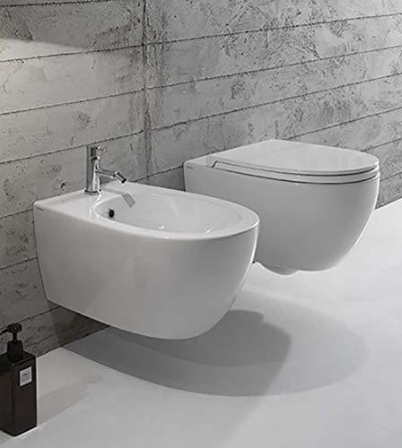 Sanitari bagno vaso sospeso con bidet, coprivaso,ceramica Globo 4ALL senza brida