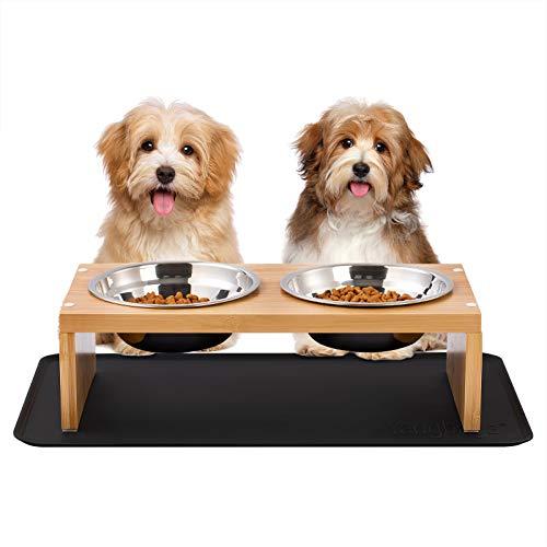 Yangbaga Futterstation aus Bambus Hundenapf 2 Edelstahl Näpfer Schüssel mit silikonen Matte Erhöhter Futterspender für Katzen und kleine Hunde
