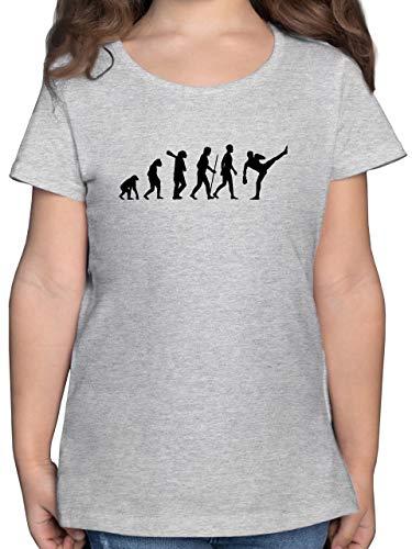 Evolution Kind - Kickboxen Evolution - 152 (12/13 Jahre) - Grau meliert - Karate t-Shirt - F131K - Mädchen Kinder T-Shirt