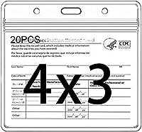 CDCバッジホルダー 4 x 3インチ レコードカードプロテクターホルダー クリアビニールプラスチックスリーブ 防水タイプ 再密封可能ジッパー付き 20個