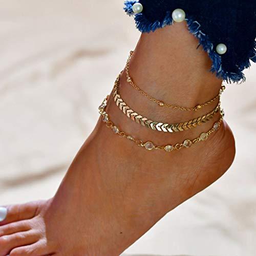 Jovono Boho - Bracelets de cheville en os de poisson perlés à la mode - Bracelets de cheville en strass multicolores - Pieds de plage pour femmes et filles (Or)