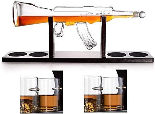 AK-47 Gun Whisky en Forma de Recipiente de Vino de Vidrio con 4 Gafas de Bala 1000ml de decantador de Vidrio Conjunto de Botella de Vino Artesanal Gran Regalo l Evolutions