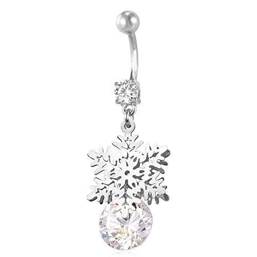 U7 Women Cubic Zirconia Long Dangle Navel Ring Platinum/18K Gold Plated Sexy Body Piercing Belly Button (Snow & CZ Dangle Platinum Color)