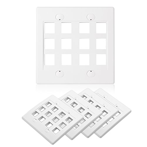 Cable Matters 5-Pack 12-Port Double Gang Wall Plate for Keystone Jack in White