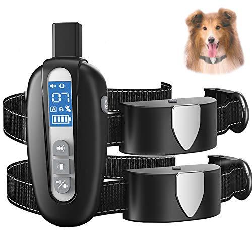 Collare Addestramento per Cani con Telecomando, Collare Antiabbaio Cane Impermeabile Ricaricabile con modalità di Vibrazione del Suono, Portata Fino a 600m
