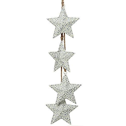 Deko-Kompanie Girlande mit Sternen Glasmosaik weiß 60cm