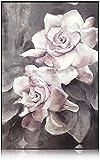 TBMX, pittura a olio su tela, dipinta a mano, astratta moderna con motivo rose su tela, decorazione da parete, senza cornice (80 x 120 cm)