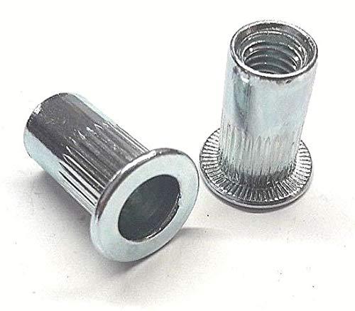 50 x Blindnietmutter Nietmutter M8x21 Stahl Verzinkt Zaun Pfosten Auflagebock