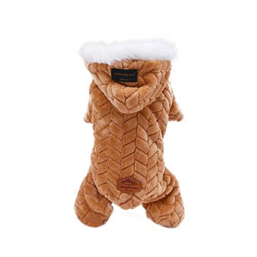 Chaleco para perros de mascotas abrigos otoño/invierno engrosado, abrigo para perros pequeños, medianos y cálido, disfraz con gorro de piel con capucha, moda gruesa #G5-Khaki -M