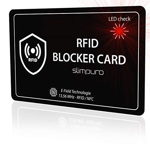 RFID Blocker Karte mit LED Kontrolle | Störsender Technologie 2019 | Eine Karte schützt | Nur 1,0 mm dünn | Keine Schutzhüllen mehr | Kreditkarte Schutz EC Karte NFC Schutzkarte