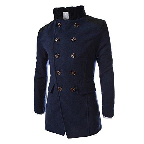 KPILP Herren Winter Zweireiher Revers Stehkragen Windjacke Trench Warm Outwear Smart Jacke Lapeled Woolen Langer Mantel(Marine, EU-46/CN-M