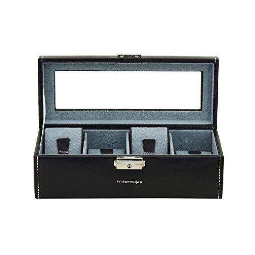 Friedrich23 Uhrenkoffer – Uhrenkasten Bond mit Glasdeckel in schwarz – Platz für 4 Uhren – abschließbar – Feinsynthetik